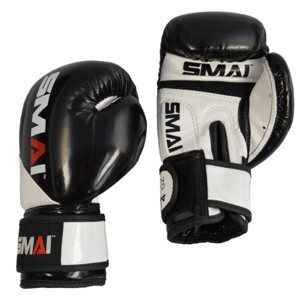 SMAI Kids PU Boxhandschuhe, schwarz-weiß