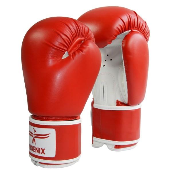 Boxhandschuhe Kunstleder rot-weiß