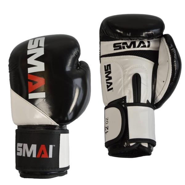 SMAI PU Boxhandschuhe, schwarz-weiß