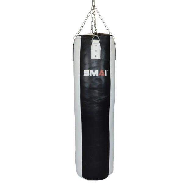 SMAI Boxsack Echtleder gefüllt, schwarz-weiß