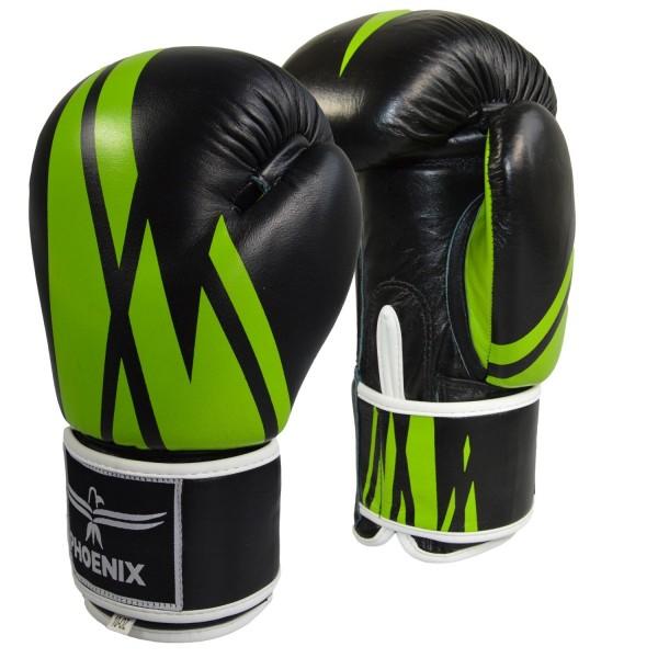 PHOENIX Thai Boxhandschuh, Leder,schwarz-grün