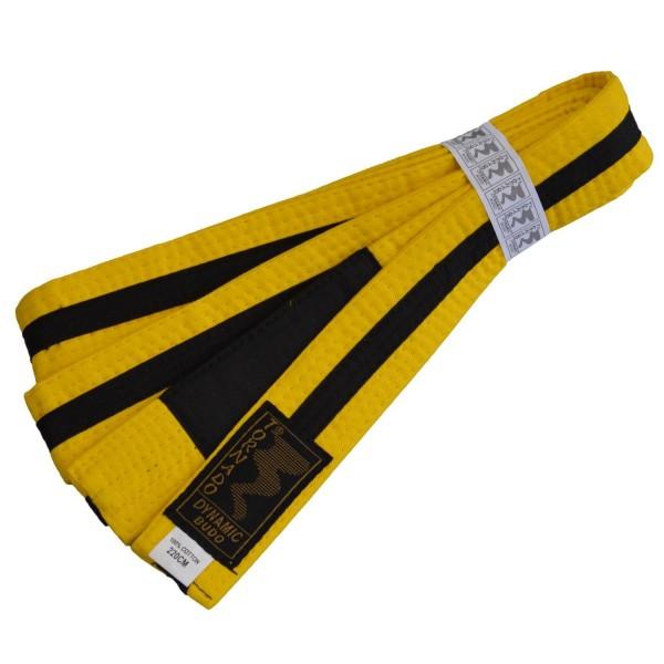 Kinder BJJ Gürtel gelb-schwarz m. Bar