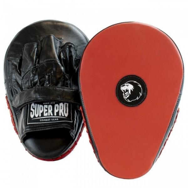 Super Pro Leder Flat Hook und Jab Pad Black/Red