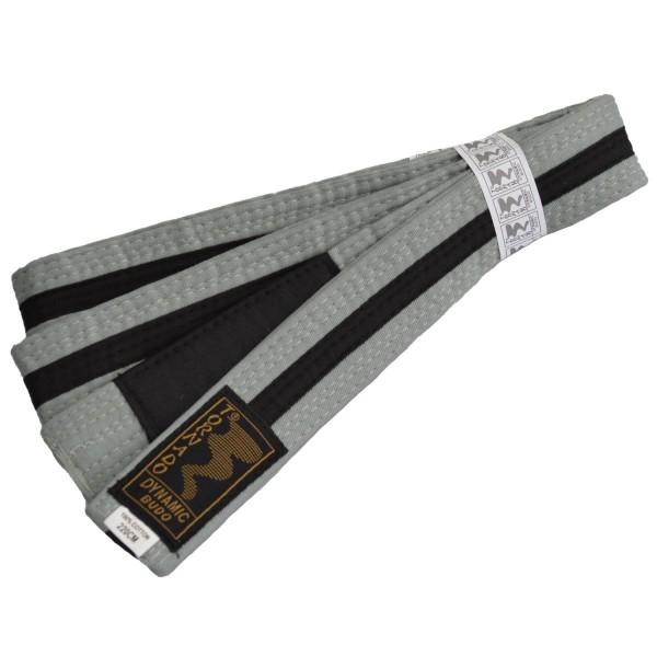 Kinder BJJ Gürtel grau-schwarz m. Bar
