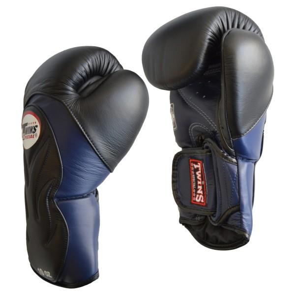 TWINS BGVL 6 Boxhandschuh schwarz-blau, 10 - 16Oz aus bestem Leder.