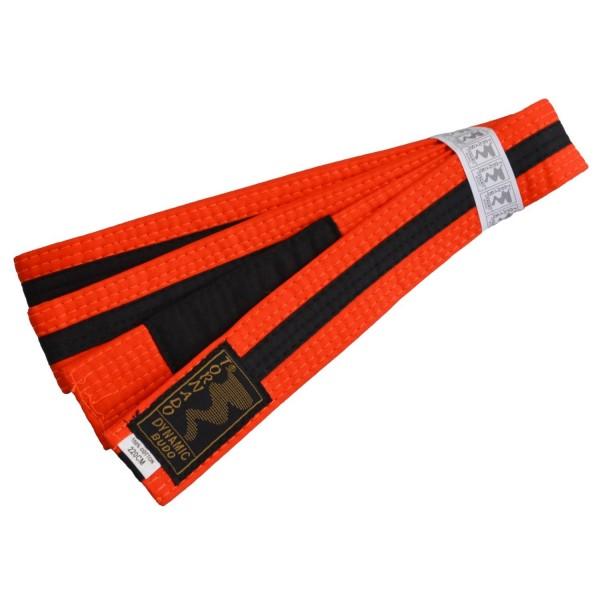 Kinder BJJ Gürtel orange-schwarz m. Bar
