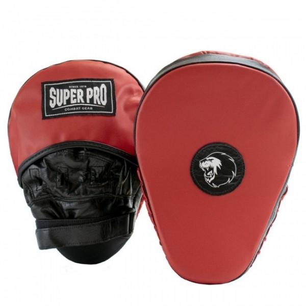 Super Pro Leder Curved Hook und Jab Pad Black/Red