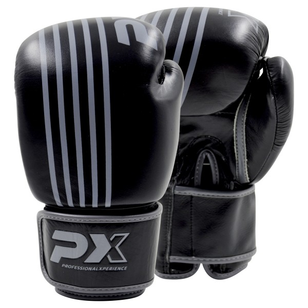 PX Boxhandschuhe  schwarz-grau  Leder 8oz