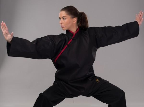 Kung Fu Jacke mit roten Applikationen
