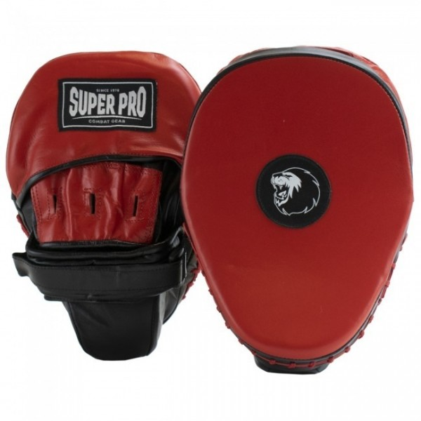 Super Pro Light Weight Curved Hook und Jab Pad Black/Red
