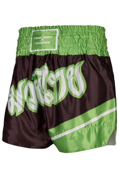 """PHOENIX Thai Shorts, """"FIGHTER"""" schw-grün"""