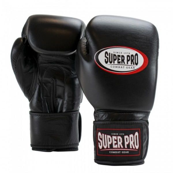Super Pro Combat Gear Thai-Pro Leder (Thai-)Boxhandschuhe - schwarz