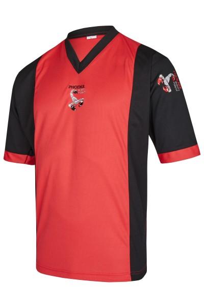 BF Kickbox-Shirt rot-schwarz Elastic Mesh