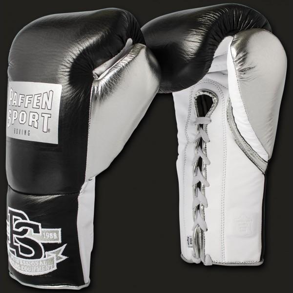 Paffen Sport Pro Mexican Boxhandschuhe für den Wettkampf Schwarz/Silber